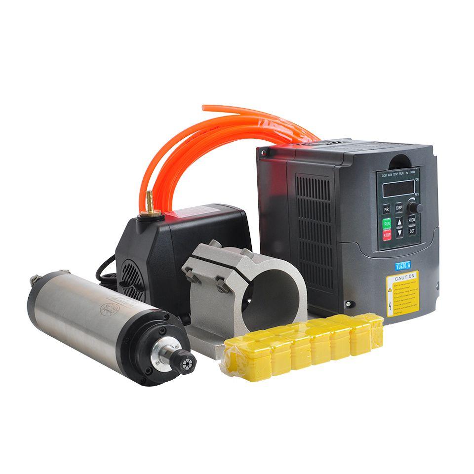 CNC Spindel Motor 1.5KW Wasser Gekühlt Spindel Kit 65 MM Clamp 110 V 220 V VFD Inverter 75 W Wasser pumpe 13 stücke ER11 Spannzange