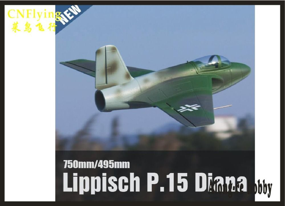 EPO RC plane airplane RC MODEL HOBBY TOY NEW 64MM EDF FREEWING Lippisch P.15 Diana JET PLANE ( KIT SET OR PNP SET VERSION)