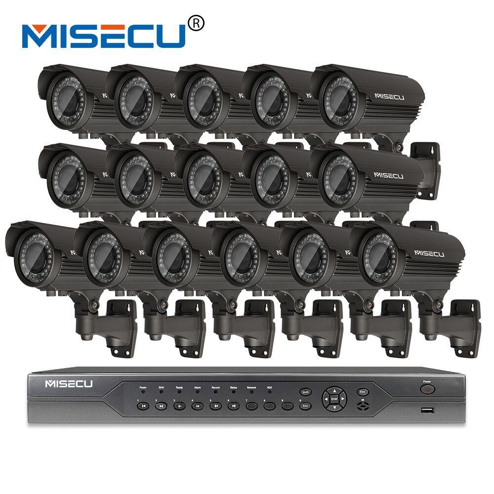 MISECU H.265 16CH POE KIT 1080P NVR Real POE 48V 2MP 16pcs POE 2.8-12mm Zoom Camera module Night Waterproof P2P IP cctv system