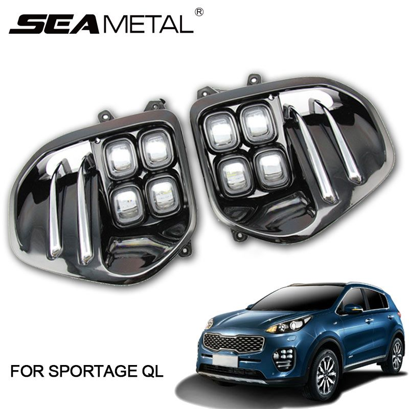 Daytime Running Lights For KIA Sportage 4 QL Kx5 2019 2018 2017 2016 DRL LED Car Driving Light White Day Fog Lamp drl Auto Lamps