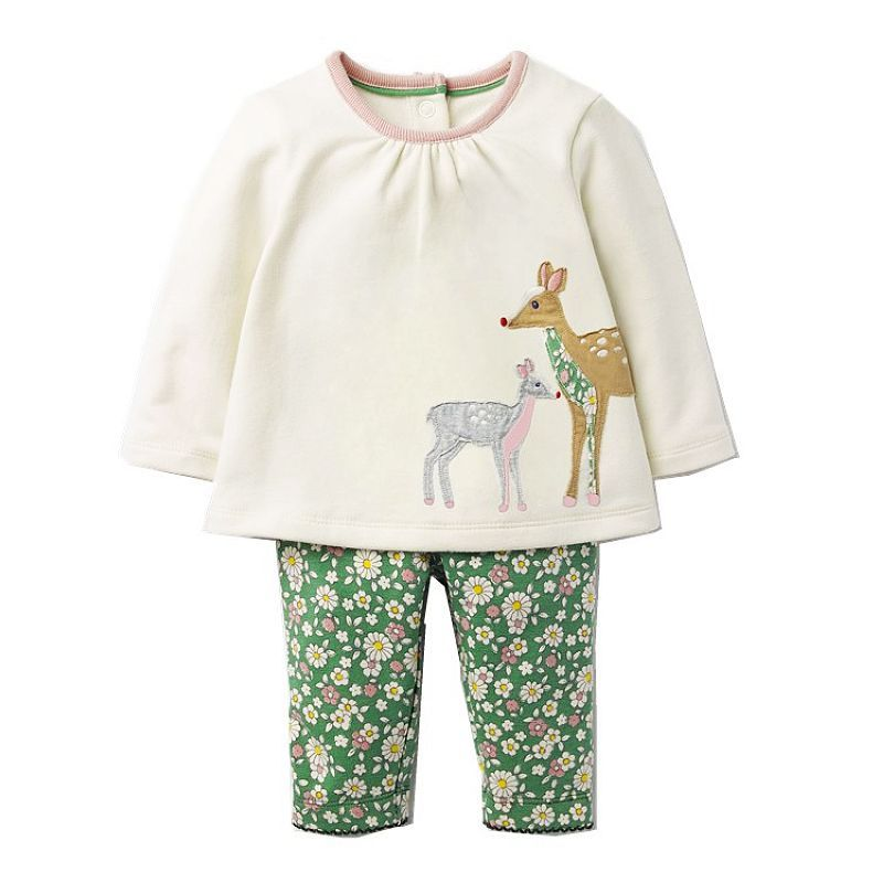 Baby Girls Clothing Sets with Animal Appliques 2017 Brand Autumn Kids Clothes Girls Outfit Robe Fille <font><b>Children</b></font> Set Tracksuit