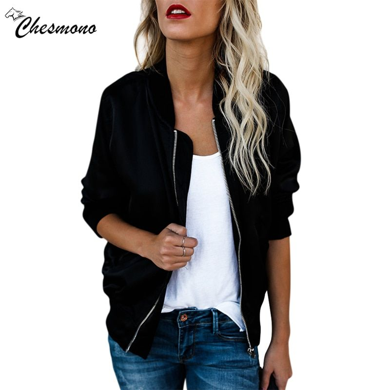 chesmono new Spring Autumn Women Thin Jackets Tops Basic Bomber Jacket Long Sleeve Coat Casual Stand Collar Slim Fit Outerwear