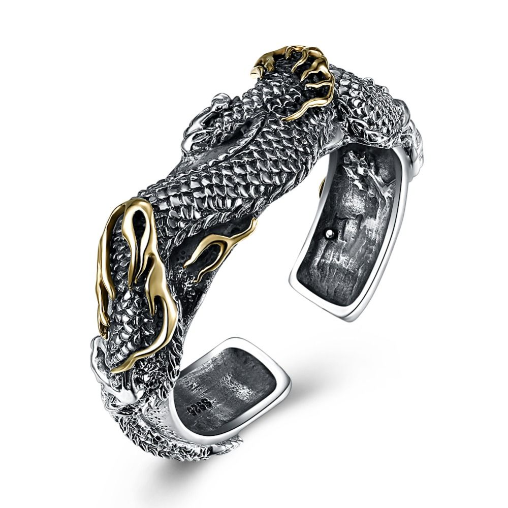 GOMAYA High Quality Handmade Exquisite Carved Bracelet Dragon Figure Manual Thai Silver Bangles Punk Jewelry Gift For Unisex