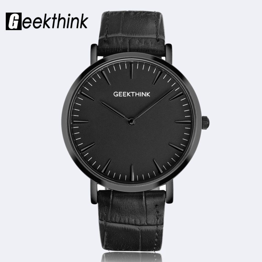 GEEKTHINK Minimaliste Top Marque De Luxe montre À Quartz hommes D'affaires Décontractée Noir Japon quartz-montre en cuir véritable ultra mince horloge
