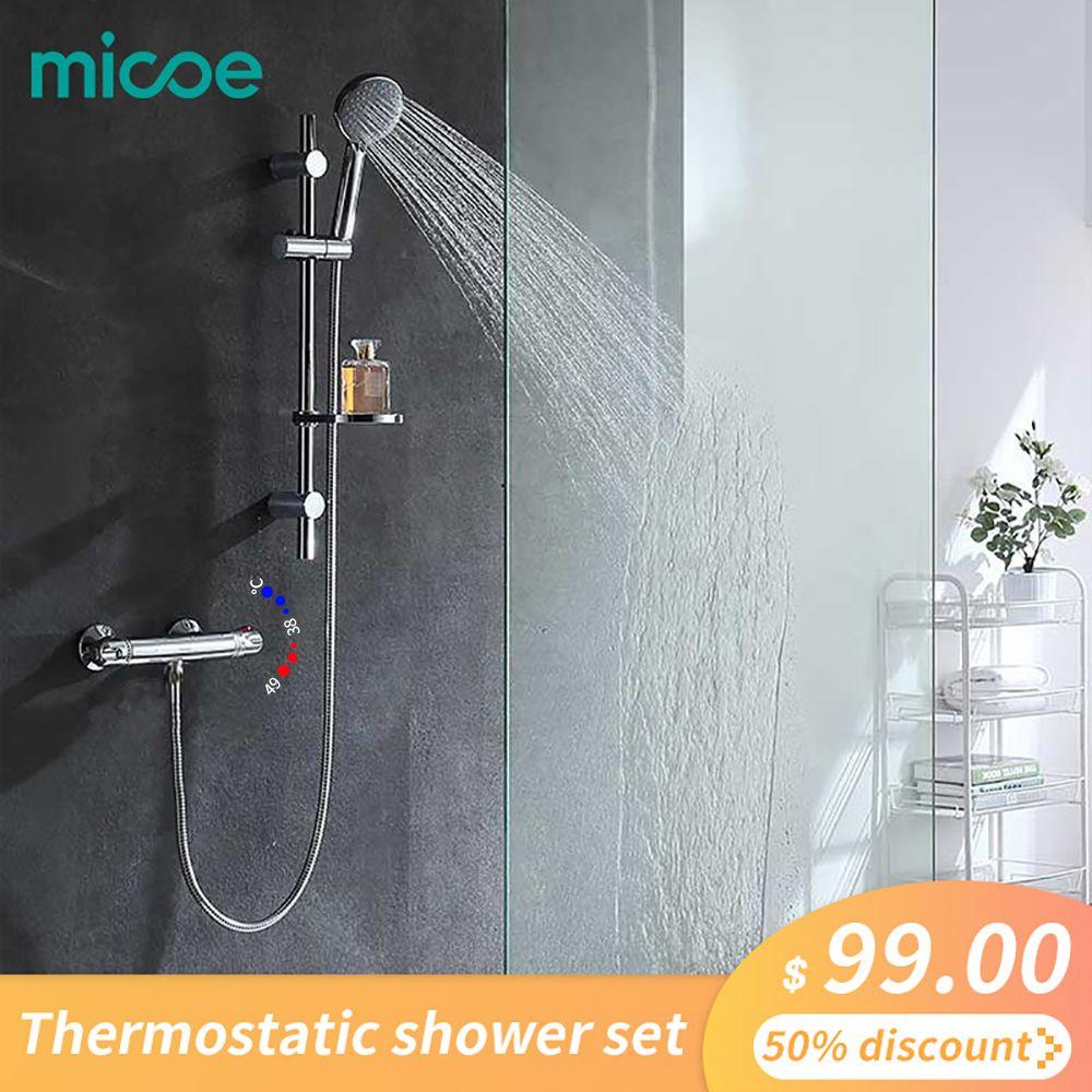 Micoe thermostatique robinet de baignoire salle de bains en laiton ensemble de douche 150mm In-wall Mount chaud et froid température de l'eau mélangeur court