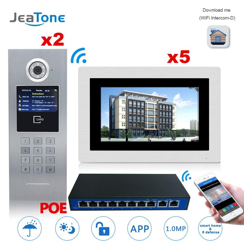 7 ''Touch Screen WIFI IP Video Tür Sprechanlage + POE Schalter 2 zu 5 Gebäude Access Control System unterstützung Passwort/IC Karte