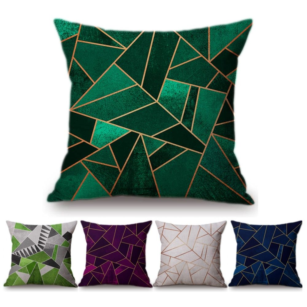 Vintage European Emerald Copper Geometric Sofa Throw Pillows Black Pink Blue Marble Stone Geometry Home Decorative Cushion Cover