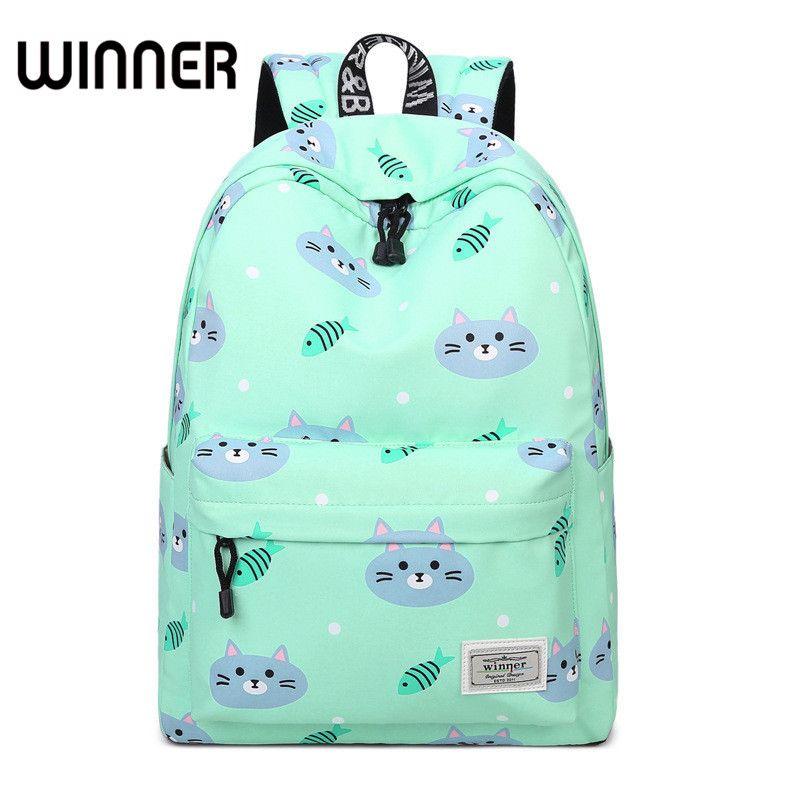 Повседневное Для женщин милый кот и рыба печати рюкзак мешок школы свежий Обувь для девочек молодежи Колледж сзади пакеты женский путешест...