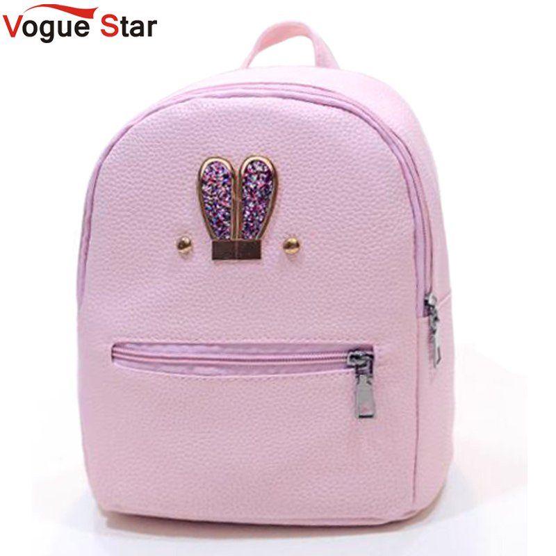 Fashion 2018 New backpack  PU leather Women bag Sweet girl mini shoulder bag Cute rabbit ear Sequins rivet small backpack LS536