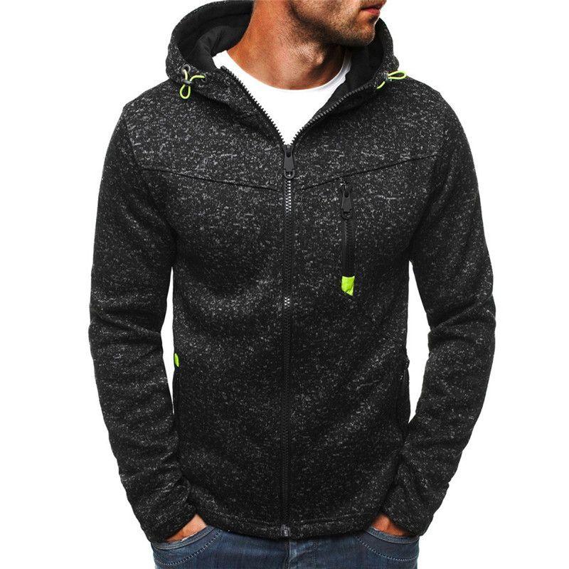 Men's Long Sleeved zipper Coat Bodybuilding Streetwear Fitness Sweatshirt Workout Tracksuit For Training Autumn Winter Clothing