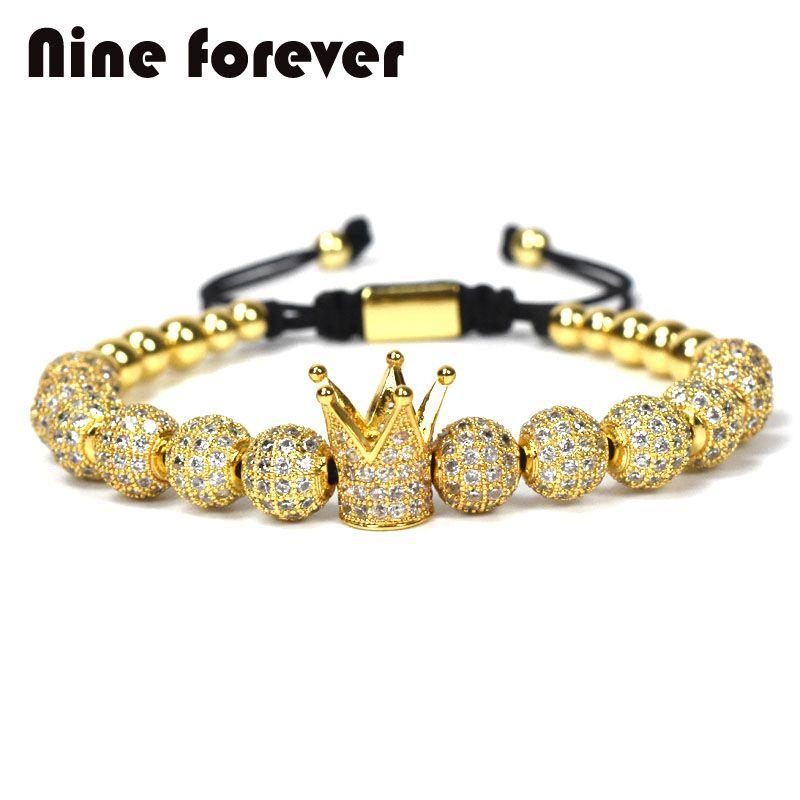 1pcs New <font><b>Design</b></font> women fashion CZ Imperial Crown Bracelets gold-color Micro Pave CZ Women Braiding Macrame Bracelet men jewelry
