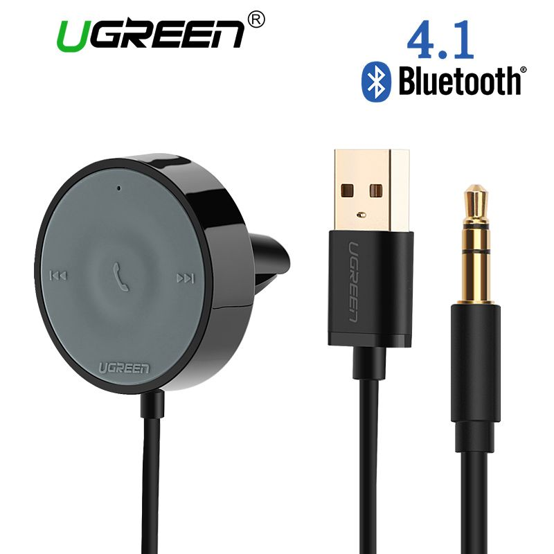 Ugreen USB Bluetooth Receiver Car Kit Adapter 4.1 Wireless Speaker Audio Cable Free for USB car charger for iPhone <font><b>Handsfree</b></font>