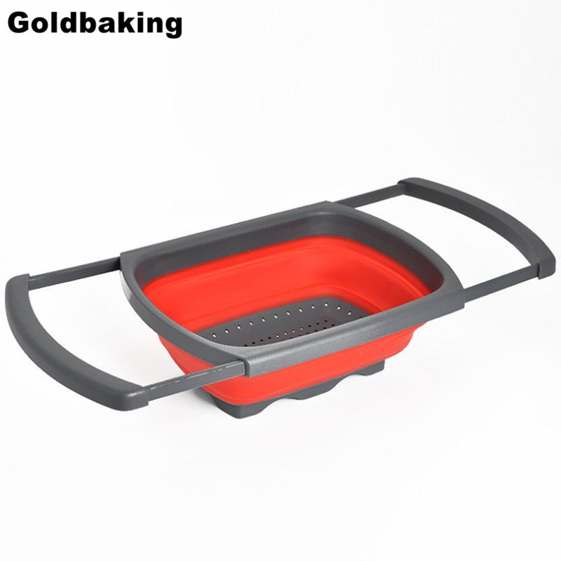 Collapsible Over the Sink Silicone Colander With Handle Kitchen Folding Strainer Red & Green <font><b>Option</b></font> 6-quart Capacity