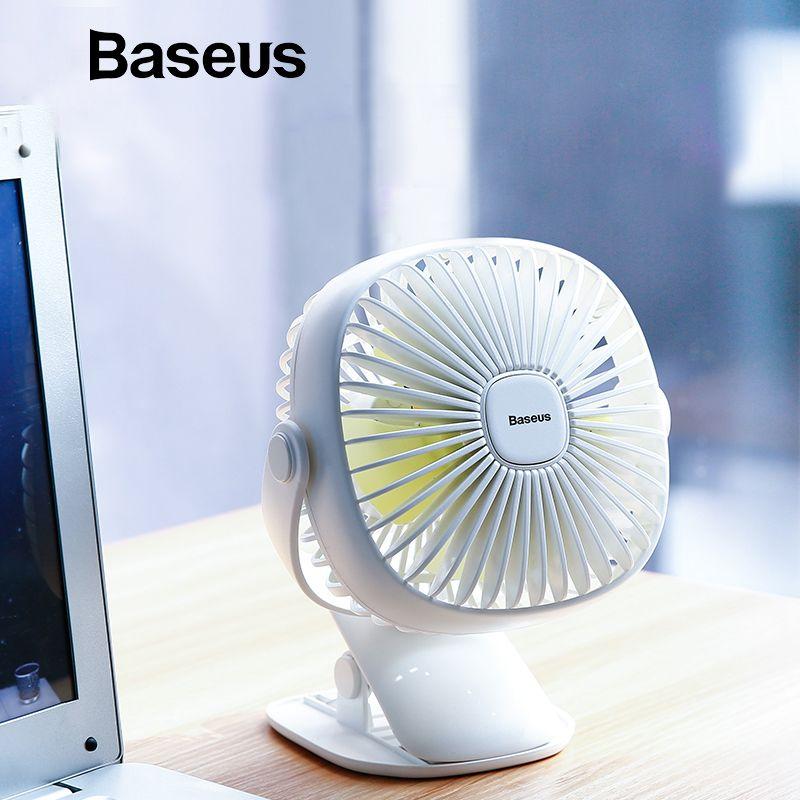 Baseus Mini USB Aufladbare Luftkühlung Fan Clip Schreibtisch Fan Dual Verwenden Zu Hause Student Schlafsaal Nacht Tragbare Desktop Büro Fan