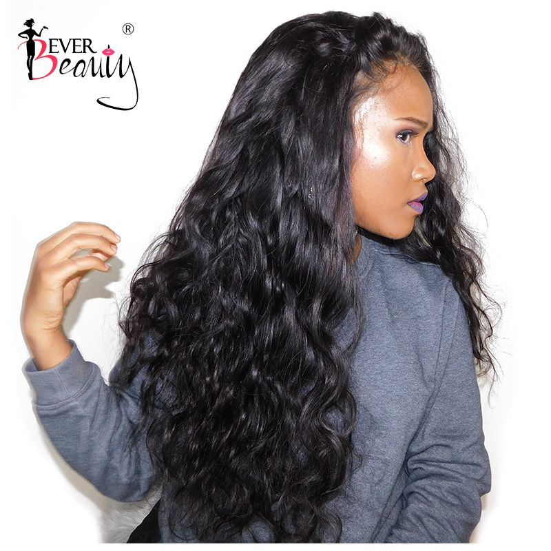 Glueless Full End Lace <font><b>Front</b></font> Human Hair Wigs For Women Brazilian Body Wave Lace <font><b>Front</b></font> Wig Black 250% Density Remy Ever Beauty