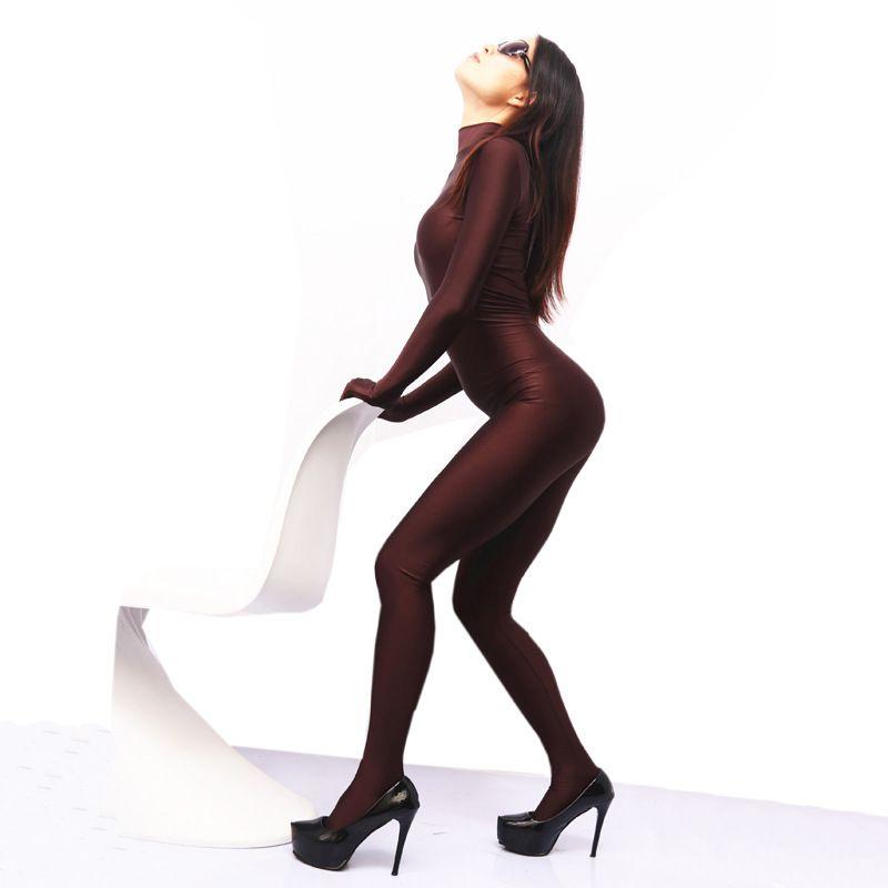 Sexy Women Cosplay Lycra Shiny Full Body Bodysuit Pantyhose Catsuit Sexy Pantyhose Erotic Lingerie Club Dance Wear F100