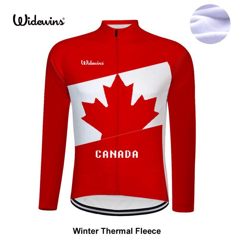 Lange Winter Thermische Fleece kanada hochwertigen pro team radfahren jersey langarm straße mtb full gules fahrrad kleidung 8001