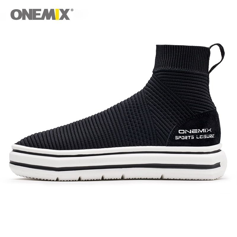 Onemix chaussette bottines pour hommes hauteur augmentant chaussures de marche pour femmes en plein air trekking baskets automne hiver chaud shoes1301