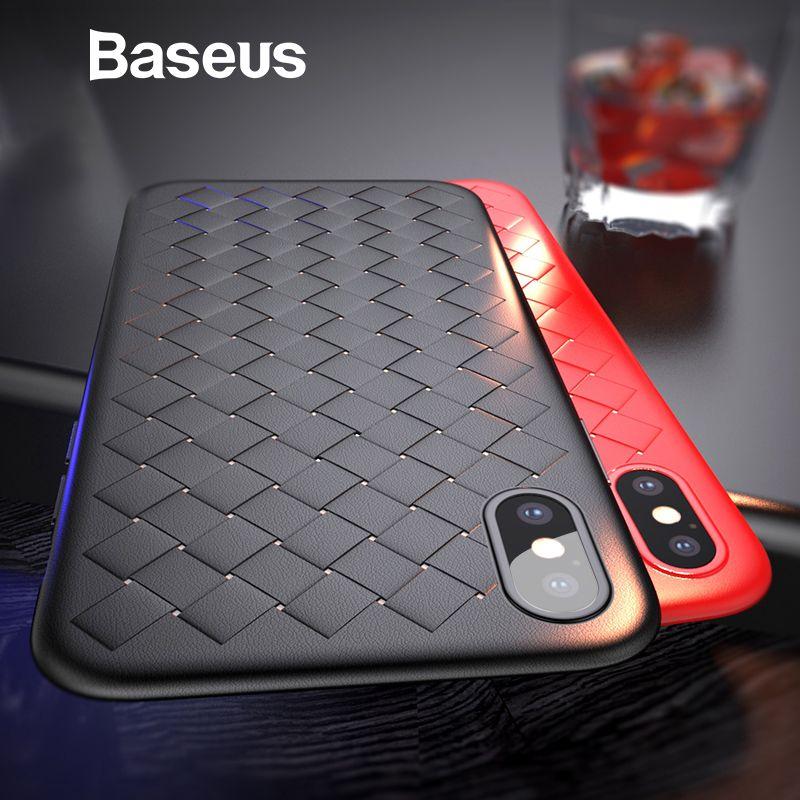 Baseus Luxus Grid Muster Fall Für iPhone X Fällen Ultra Dünne Weiche Silikon Schutzhülle Für iPhoneX Abdeckung Matte Coque funda