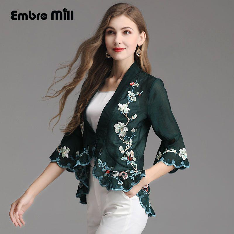 Frauen tops frühling/sommer Chinesischen stil stickerei vintage floral kurze mantel anzug kragen 3/4 Glocke hülse dame Kleine top m-4XL
