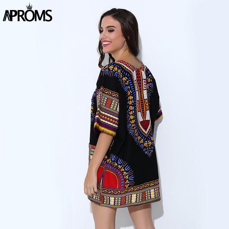 Aproms Ropa Tradicional Africana para Las Mujeres Camisa Unisex Blanco Clásico Algodón Dashiki Tops Blusas de Impresión Del Tamaño Del Verano