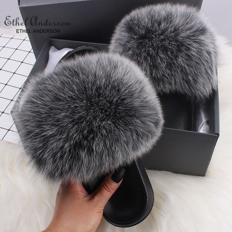 Ethel Anderson Fluffy Slippers Real FOX Fur Slides Indoor Flip Flops Casual Shoes Woman Raccoon Fur Sandals Vogue Plush Shoes