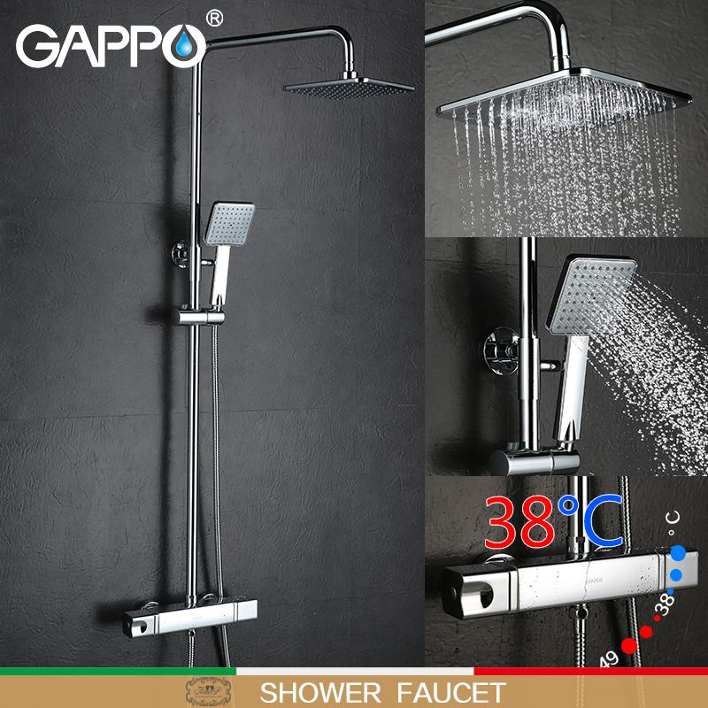 GAPPO bathtub shower faucet mixer tap bathroom thermostat faucet waterfall wall mount thermostatic shower mixer shower system