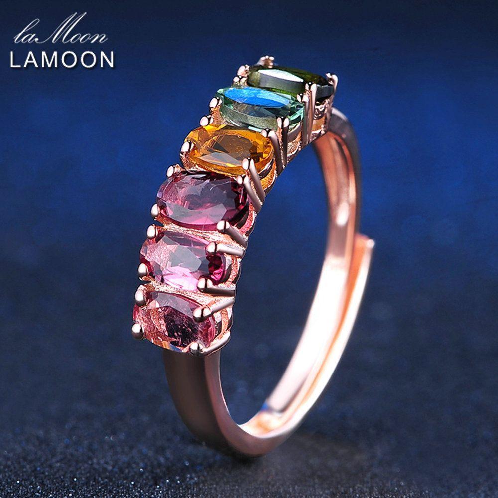 LAMOON multi-couleur Tourmaline anneaux pour femmes 100% véritable pierre précieuse naturelle 1.5ct 925 bague de fête en argent Sterling bijoux fins RI005