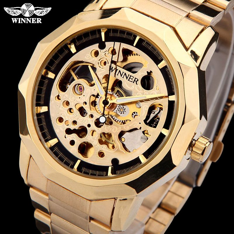 WINNER brand watches men mechanical skeleton <font><b>wrist</b></font> watches fashion casual automatic wind watch gold steel band relogio masculino