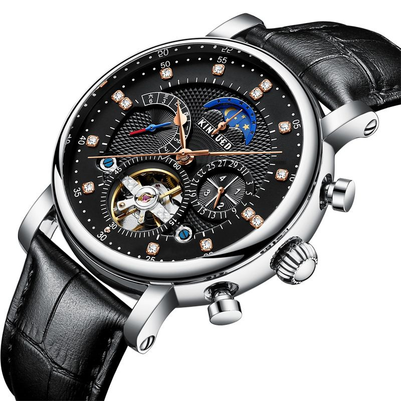 Kinyued Skeleton Tourbillon Mechanical Watch Automatic Men Classic Male Gold Dial Leather Mechanical Wrist Watches J025P-4