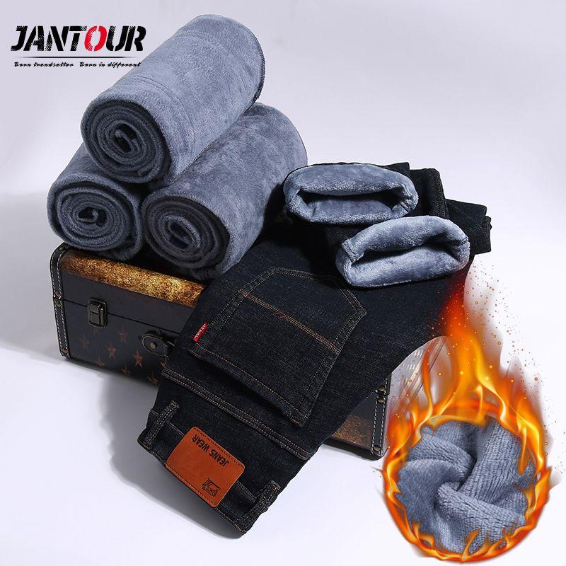 2018 winter Warm Jeans Men High Quality Famous Brand velvet Fleece Jean trousers flocking soft men pants Large Big 35 40 42 size