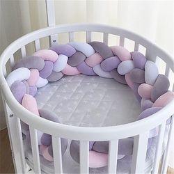 200 cm cama de bebé cuatro capas nudo hecho a mano largo anudado trenzado Weaving peluche bebé cuna Protector infantil almohada nudo decoración de la habitación