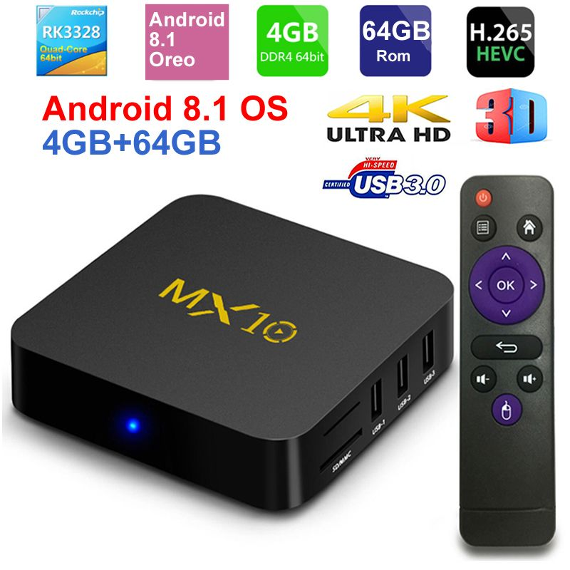 MX10 Smart TV BOX Android 8.1 Rockchip RK3328 DDR4 4GB Ram 64GB Rom IPTV Smart Set-top Box 4K USB 3.0 HDR H.265 Media Player Box