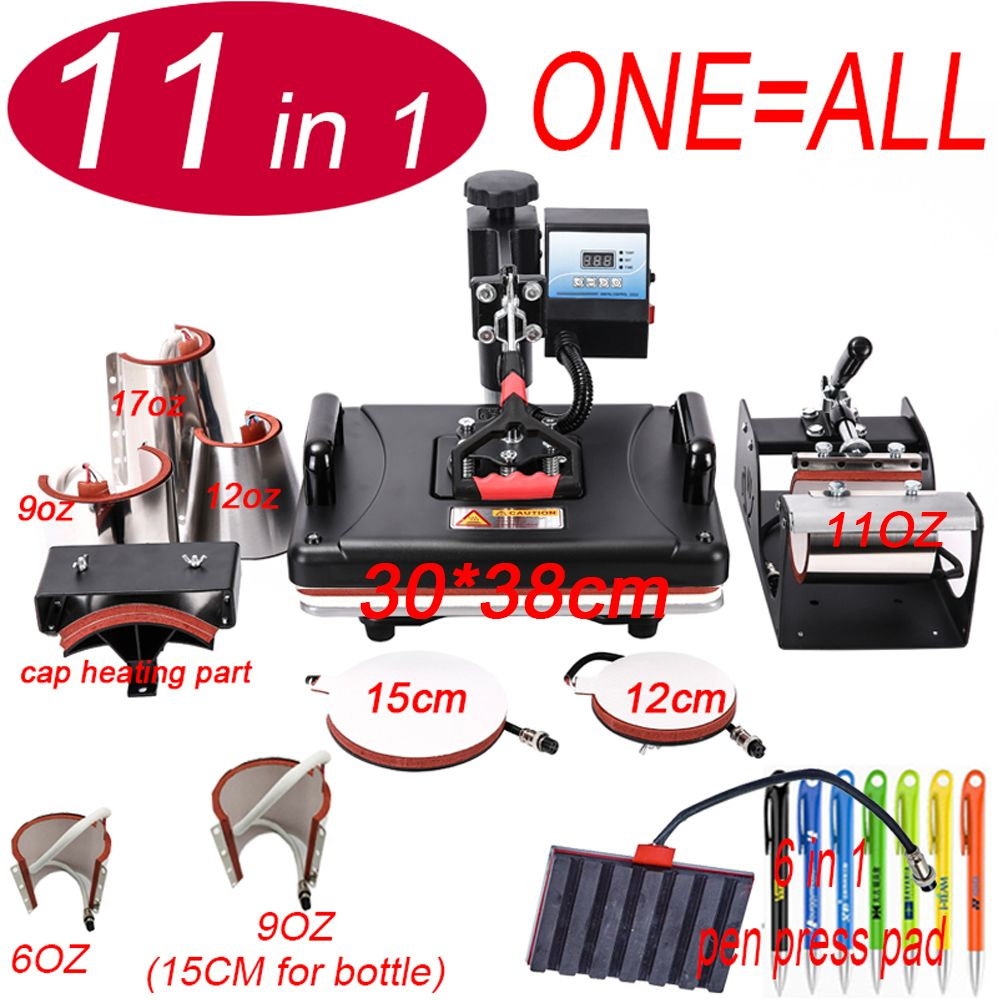11 In 1 Wärme stift Presse Maschine, sublimation Drucker/stift Transfer Maschine Für Becher/Cap/t-shirt/Telefon fall/flasche /stift