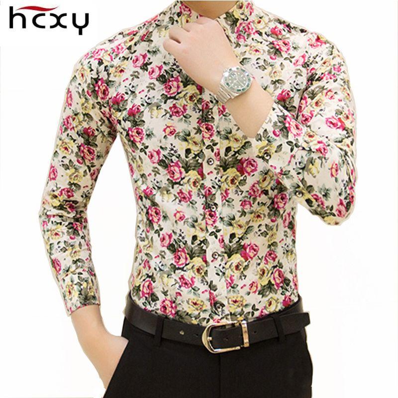 HCXY 2019 nouvelle mode printemps hommes chemises décontractées hommes à manches longues Slim fit chemise camisas masculinas petite impression florale design