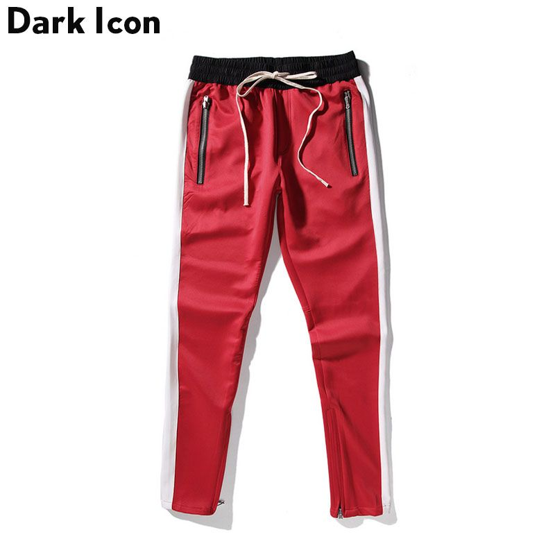 DARK ICON Side Patchwork Side Zipper Streetwear Track Pants Men 2018 Spring Kanye West Pants Men's Skinny Trousers Red Blue