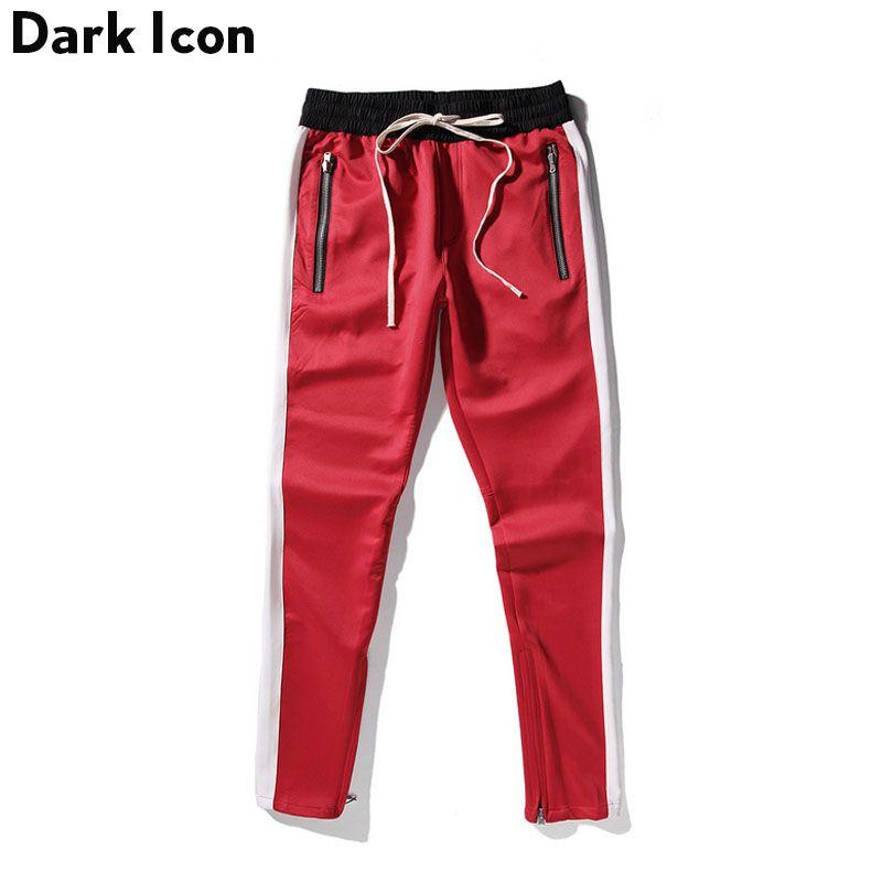DARK ICON Side Patchwork Side Zipper Streetwear Track Pants Men 2018 Spring Kanye West Pants Men's Skinny Trousers Red Blue