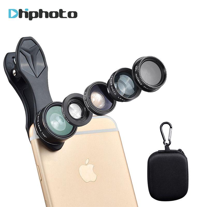 5in1 Phone Lens Kit, APEXEL 198 Degree Fisheye /0.63X Wide Angel /15X Macro /Telescope /CPL Lens/ for iPhone Samsung Smartphone