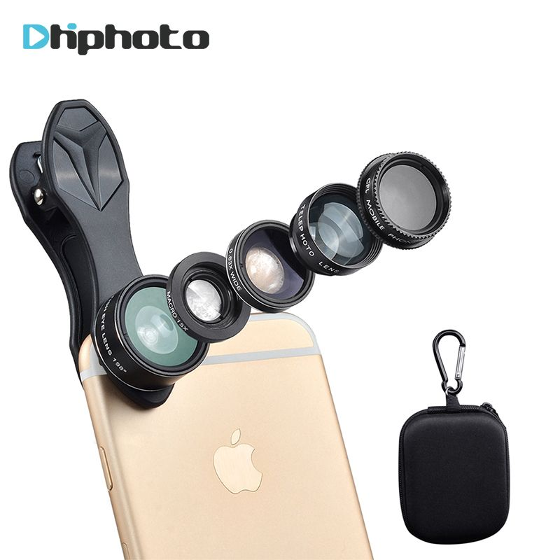 APEXEL Universal 5in1 Kit de la Lente Del Teléfono, Smartphone de ojo de Pez Macro objetivo Angel + Ancho + 15X + Telescopio + CPL Lentes para el iphone Samsung Xiaomi DG7