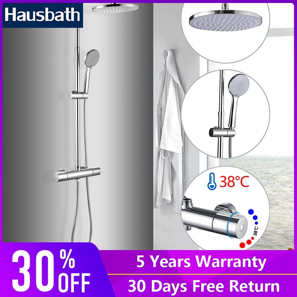 Thermostatic Faucet Shower Set Bathtub Faucet Chrome Wall Mounted Tropic Rain Shower Bathroom