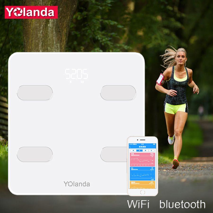 Yolanda Pre mi um Smart Badezimmer Waage WiFi Bluetooth Körper Fett Skala Menschlichen Wiegen mi Boden Waagen Haushalt Hause geschenk