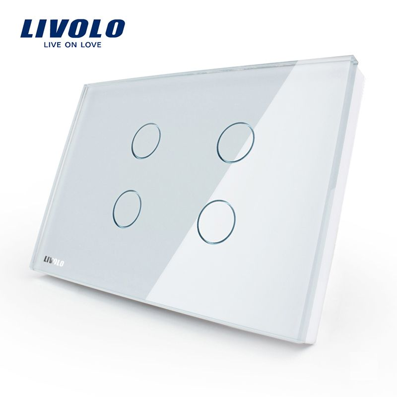 Livolo US standard Wall Light Touch Switch ,4gang 1way , AC 110~250V, White Crystal <font><b>Glass</b></font> Panel,VL-C304-81
