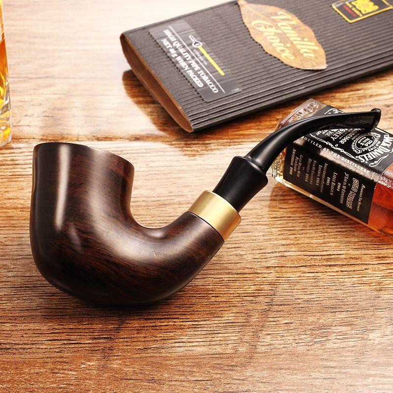 2018 Ciga Nouvelle Haute qualité ADOUS Fumer Ensemble En Bois D'ébène Noir Fait Main Pipes Tabac Tuyau 9mm Filtre pipe en bois AH923