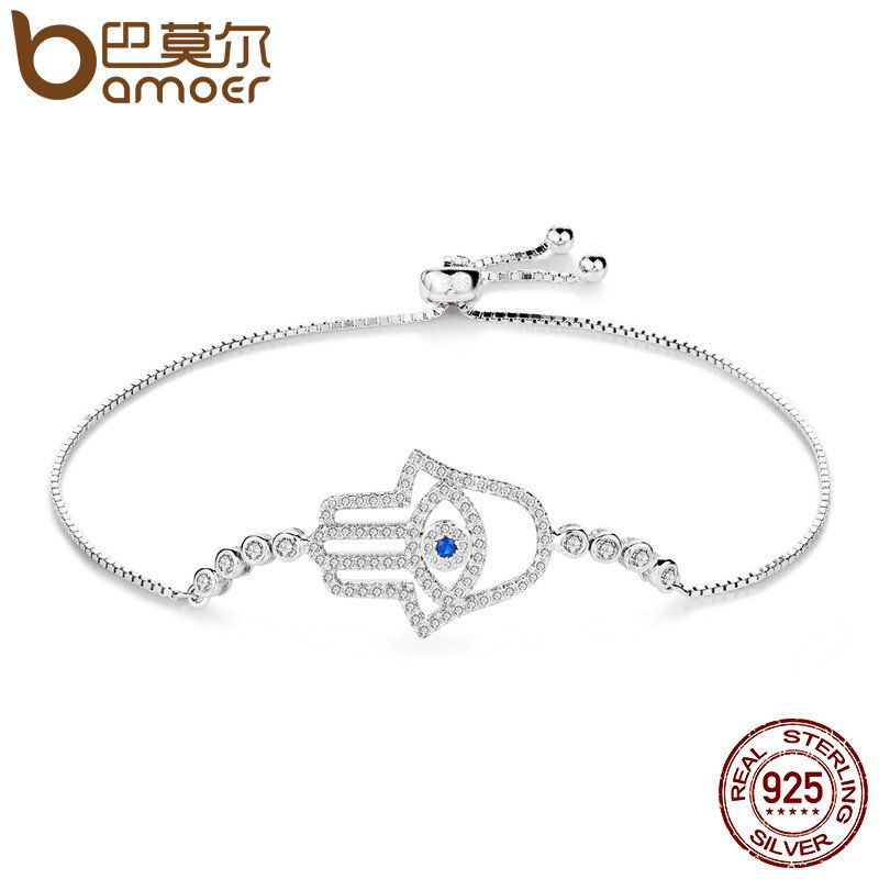 BAMOER High Quality Luxury 925 Sterling Silver Hamsa Hand, Clear CZ Chain Link Bracelet for Women Sterling Silver Jewelry SCB026