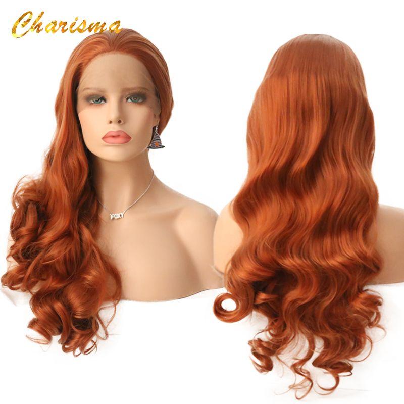 Perruques avant synthétiques de dentelle de vague de corps de charisme perruques de couleur Orange résistantes à la chaleur 24 pouces perruques de densité 150% sans colle pour les femmes noires