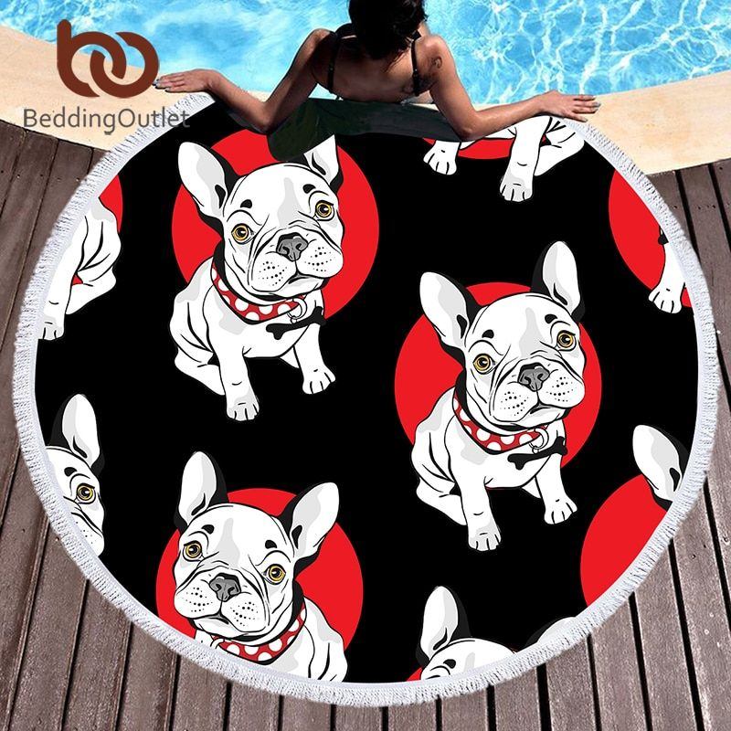 BeddingOutlet Bulldog Round Beach Towel for Kids Printed Serviette De Plage Large Towel Cartoon Microfiber Bath Toalla 150cm
