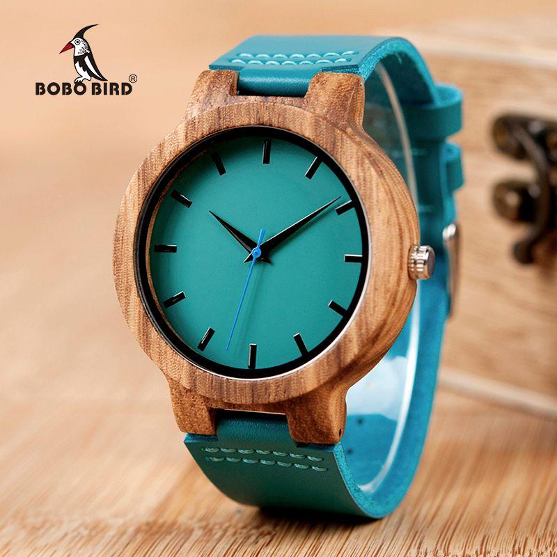 Bobo Bird c28 mens cebra madera reloj dial cuero azul Relojes de cuarzo en caja de regalo Relogio masculino mujer 2018