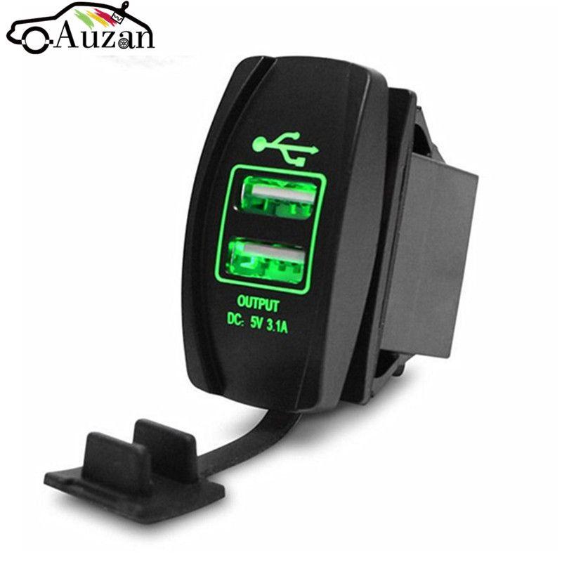 12/24 V Dual Usb-buchse Auto-ladegerät Netzteil 3.1A 5 V ausgang Mit 4 Farbe LED-Licht Für Alle Telefon Für Toyota/Skoda/VW/Audi