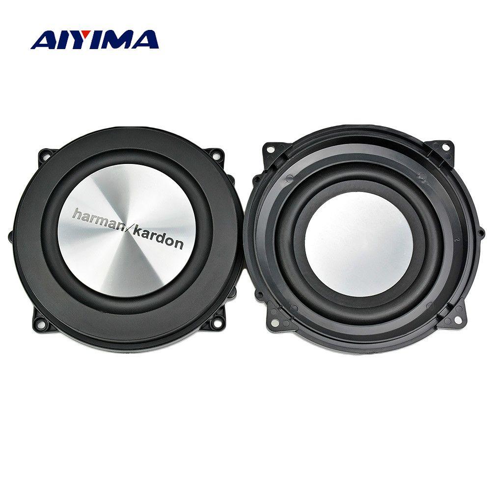 AIYIMA 2 PC 4 pouces 120 MM radiateur de basse passif haut-parleur de radiateur en aluminium brossé auxiliaire Membrane de Vibration de basse pour Woofer bricolage