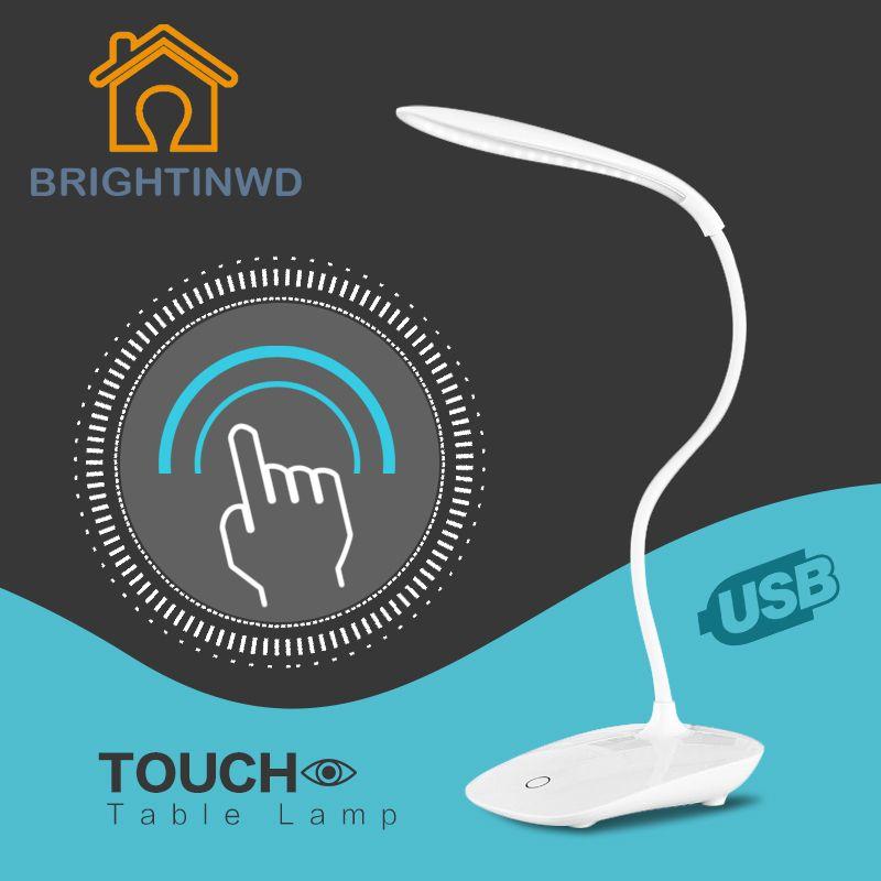 Buena Intensidad de Trabajo de Alta Calidad Ajustable USB Recargable LED Lámpara de Mesa de Escritorio Luz de Lectura con Interruptor Táctil para el Hogar